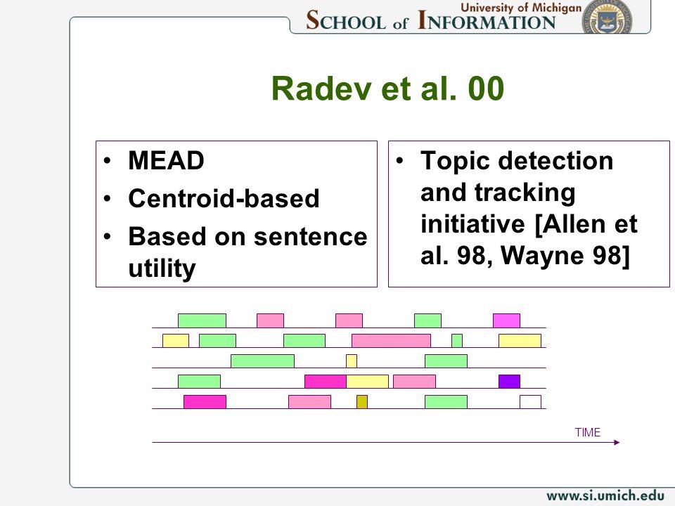 Radev et al. 00 MEAD Centroid-based Based on sentence utility