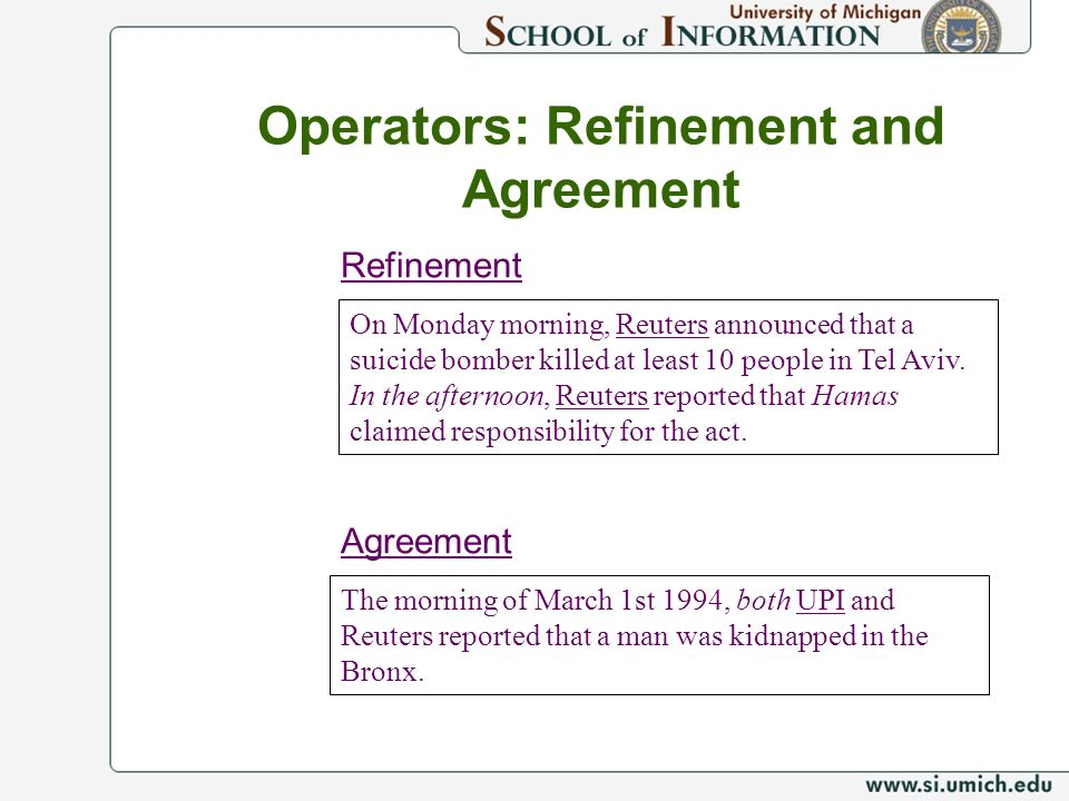 Operators: Refinement and Agreement