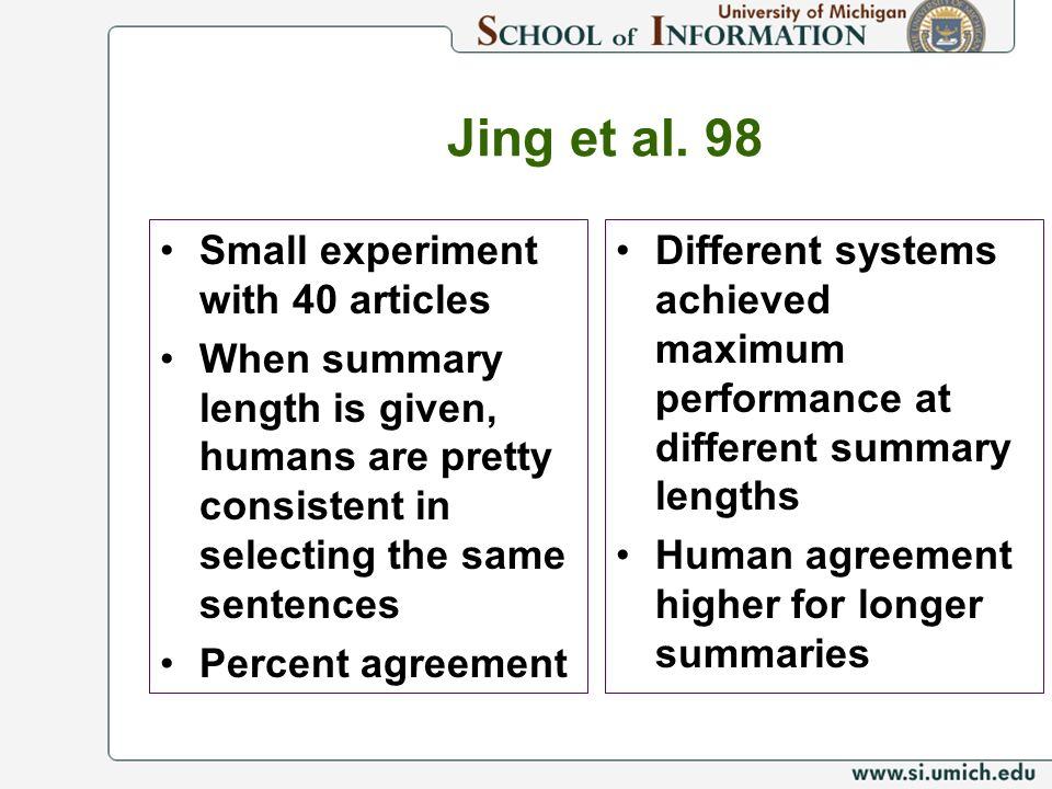 Jing et al. 98 Small experiment with 40 articles