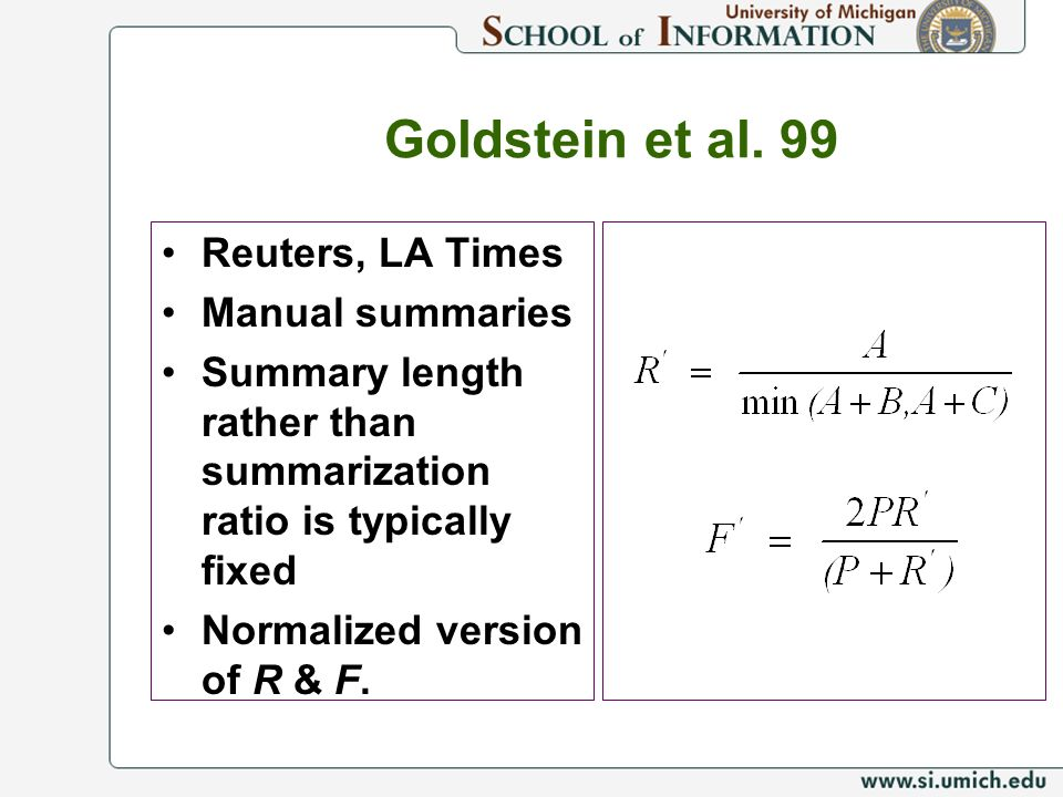 Goldstein et al. 99 Reuters, LA Times Manual summaries