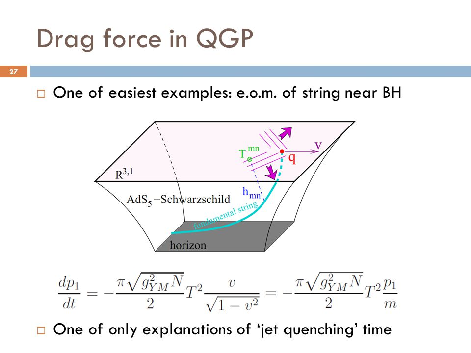 Drag force in QGP One of easiest examples: e.o.m. of string near BH