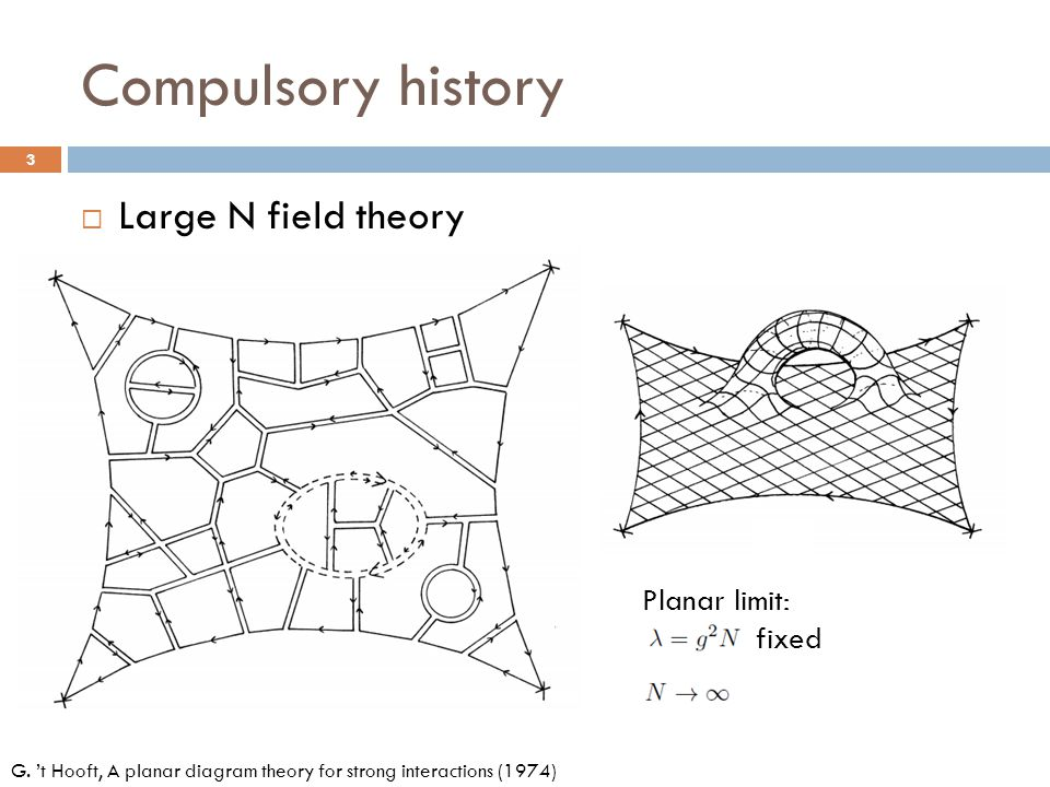 Compulsory history Large N field theory Planar limit: fixed
