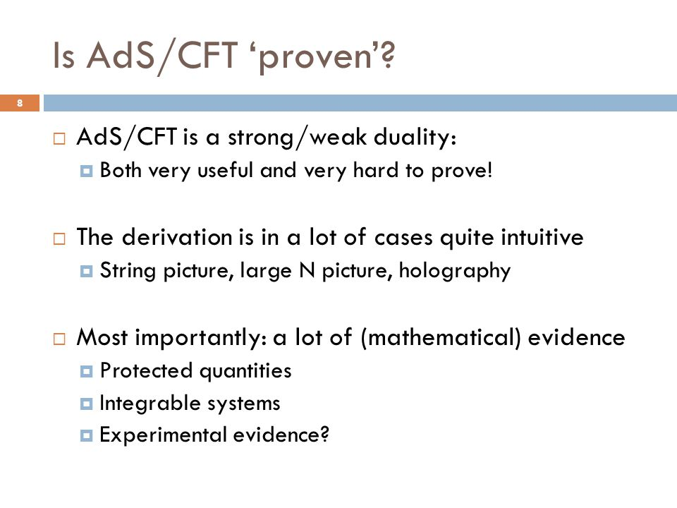 Is AdS/CFT 'proven' AdS/CFT is a strong/weak duality: