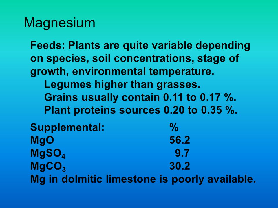 Magnesium Feeds: Plants are quite variable depending on species, soil concentrations, stage of growth, environmental temperature.
