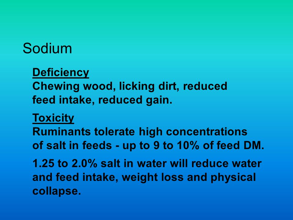 Sodium Deficiency Chewing wood, licking dirt, reduced