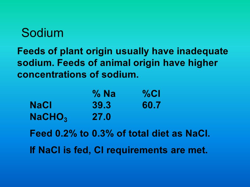Sodium Feeds of plant origin usually have inadequate