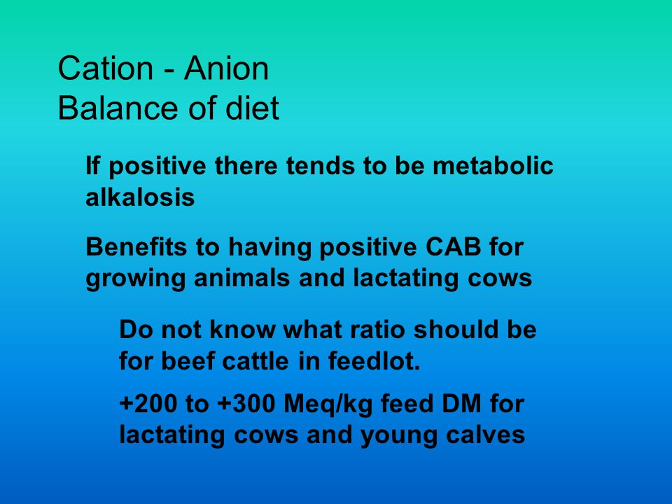 Cation - Anion Balance of diet