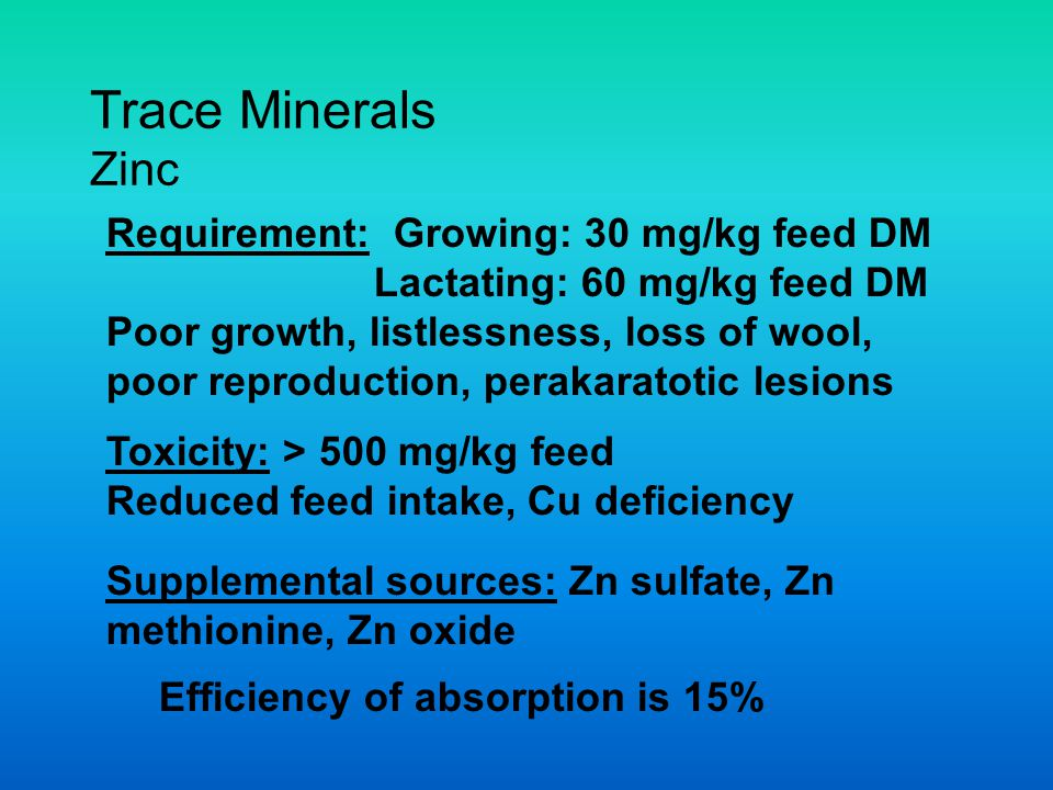 Trace Minerals Zinc Requirement: Growing: 30 mg/kg feed DM