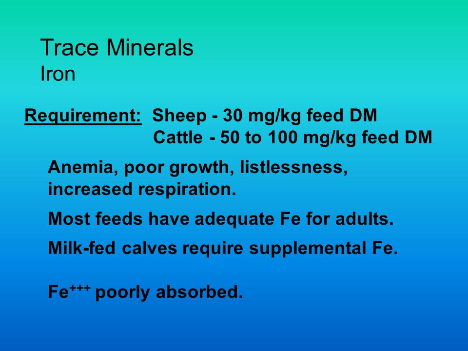 Trace Minerals Iron Requirement: Sheep - 30 mg/kg feed DM