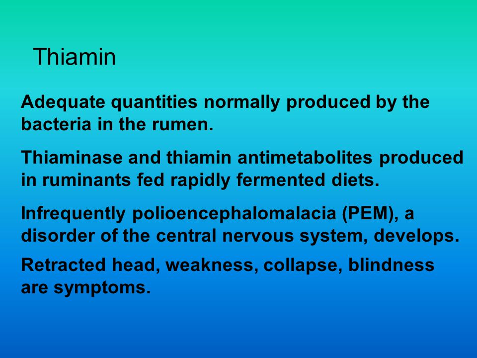 Thiamin Adequate quantities normally produced by the bacteria in the rumen. Thiaminase and thiamin antimetabolites produced.