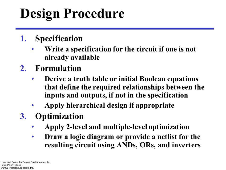 Design Procedure Specification Formulation Optimization