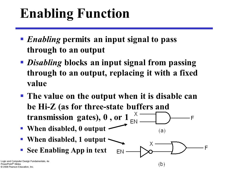 Enabling Function Enabling permits an input signal to pass through to an output.