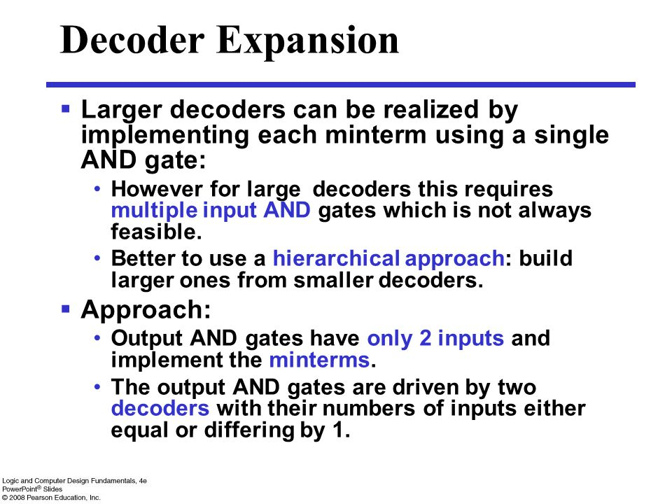 Decoder Expansion Larger decoders can be realized by implementing each minterm using a single AND gate: