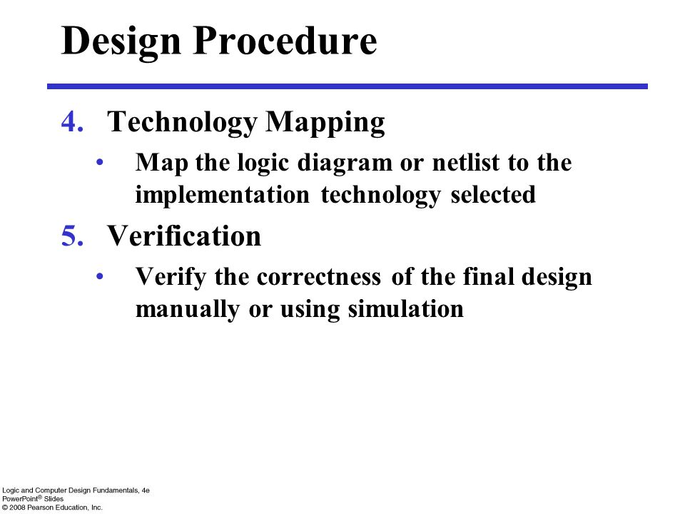 Design Procedure Technology Mapping Verification