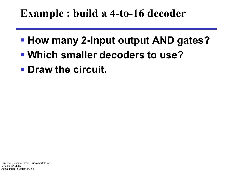 Example : build a 4-to-16 decoder