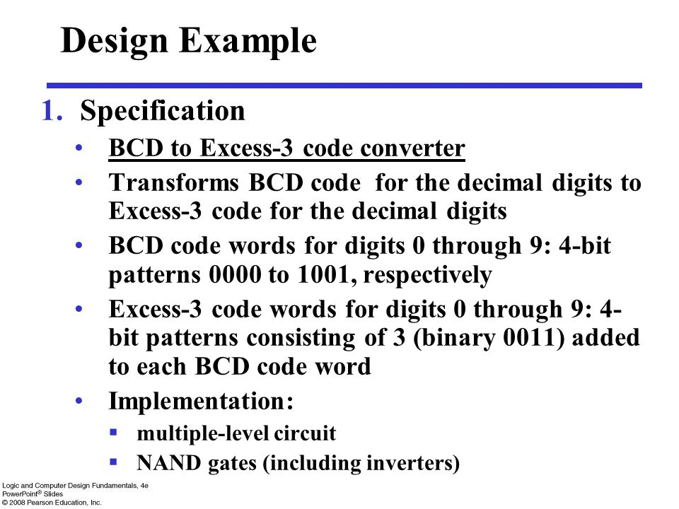 Design Example Specification BCD to Excess-3 code converter