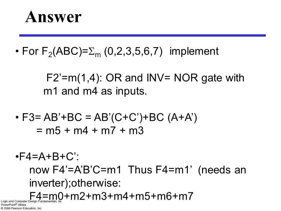 Answer For F2(ABC)=m (0,2,3,5,6,7) implement