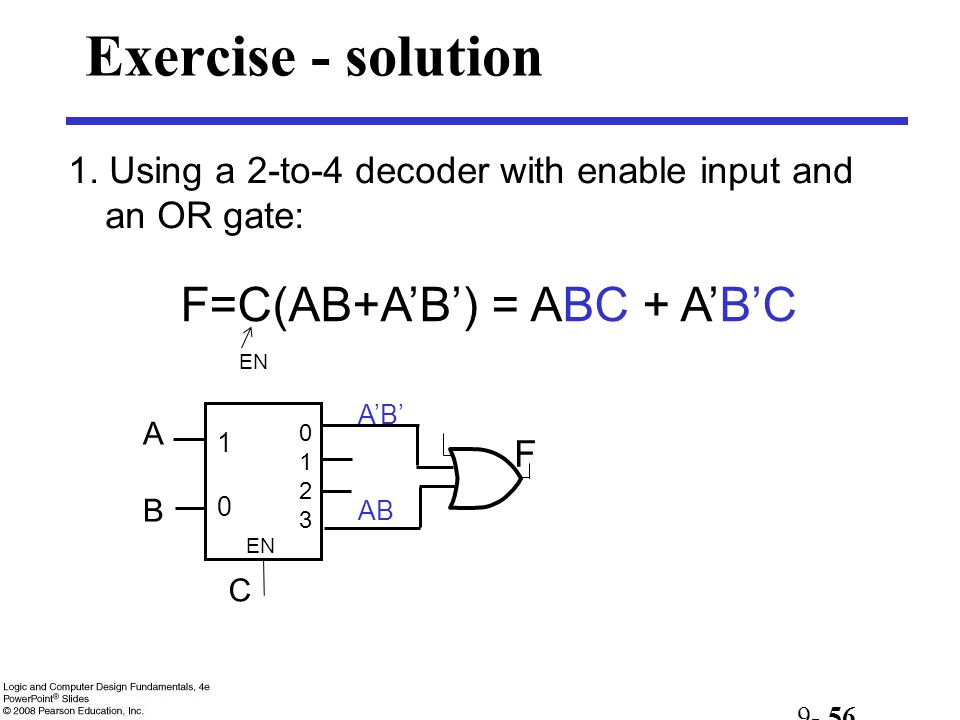 Exercise - solution F=C(AB+A'B') = ABC + A'B'C
