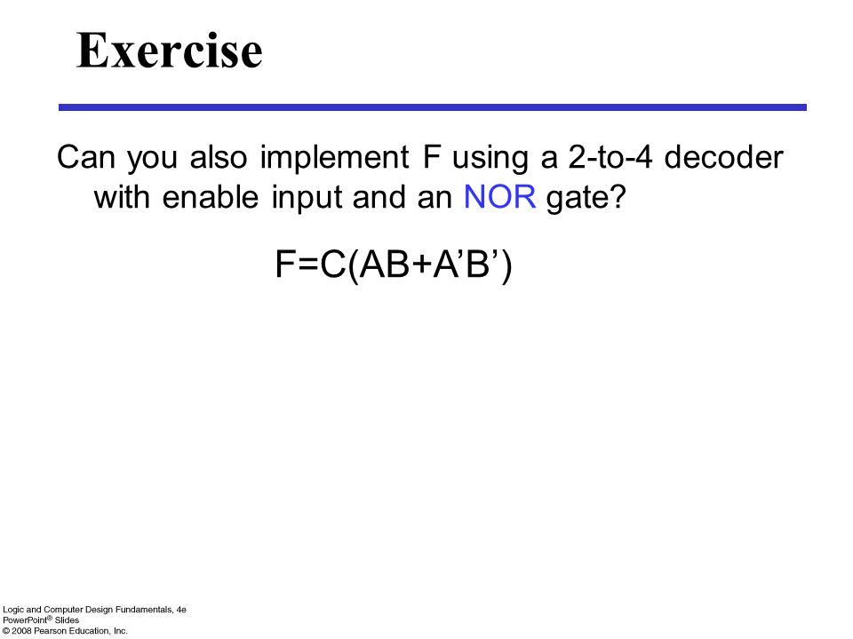 Exercise F=C(AB+A'B')