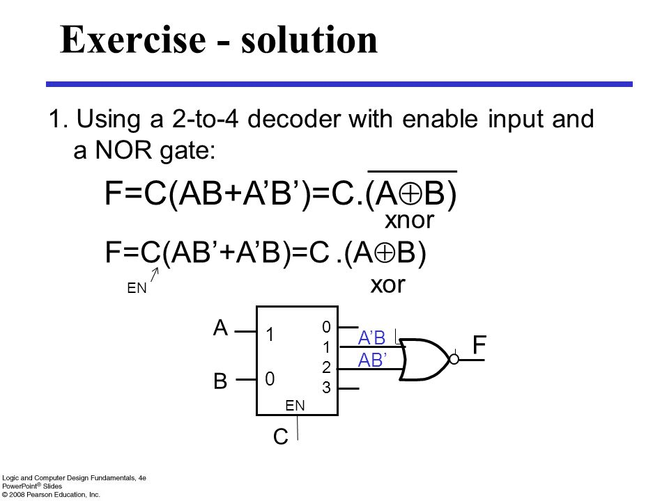 Exercise - solution F=C(AB+A'B')=C.(AB) F=C(AB'+A'B)=C .(AB)