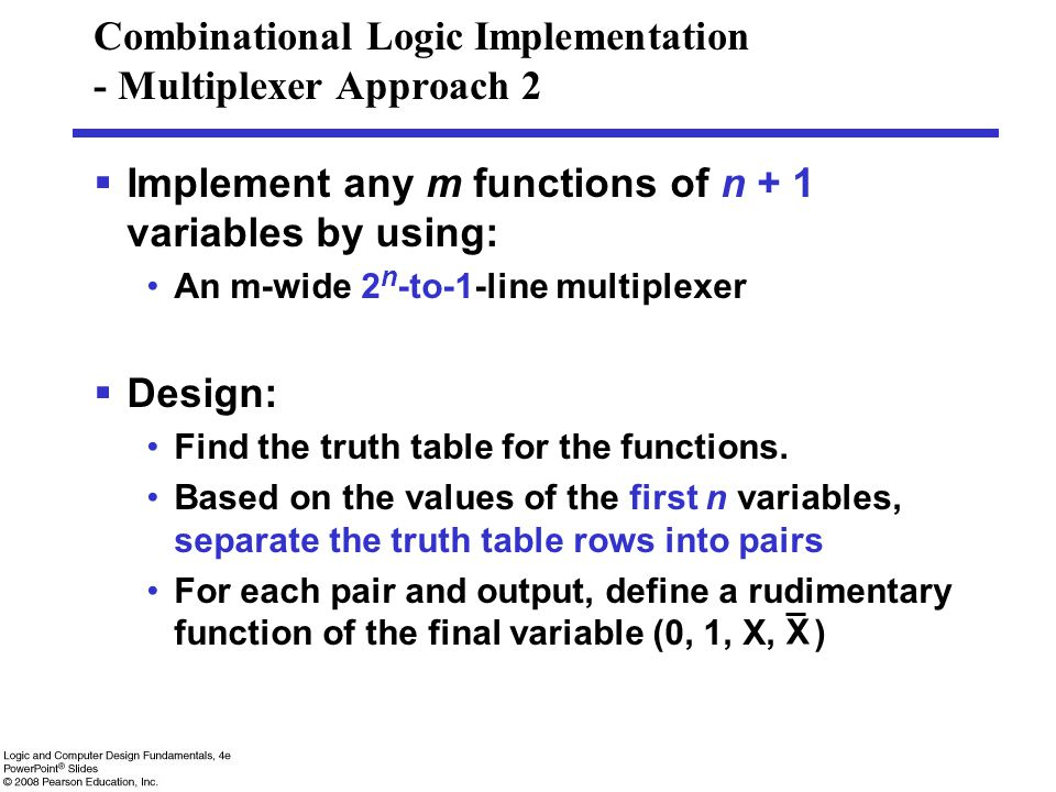 Combinational Logic Implementation - Multiplexer Approach 2