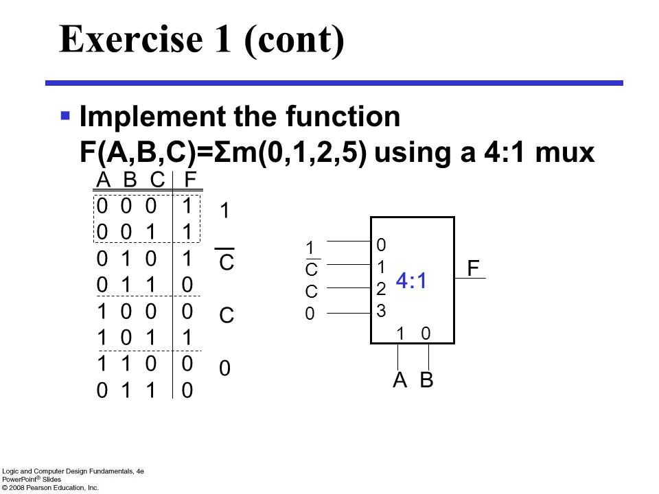 Exercise 1 (cont) Implement the function F(A,B,C)=Σm(0,1,2,5) using a 4:1 mux. A B C F. 0 0 0 1.