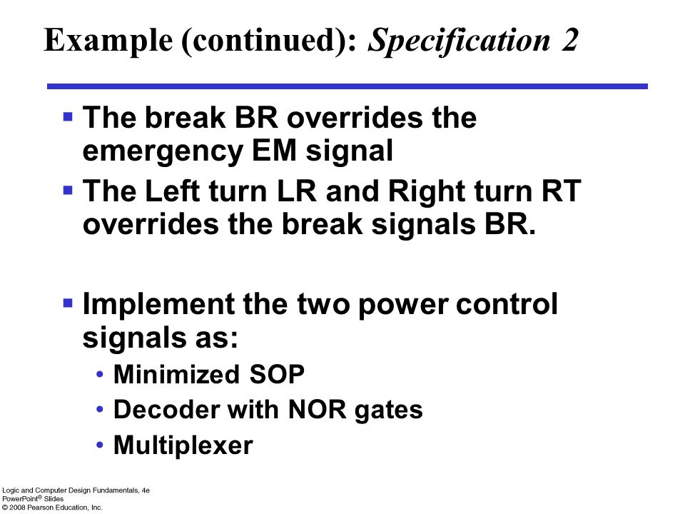 Example (continued): Specification 2