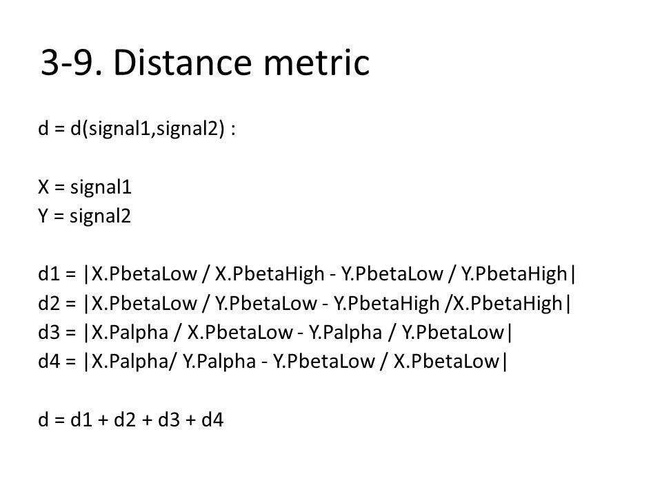 3-9. Distance metric d = d(signal1,signal2) : X = signal1 Y = signal2