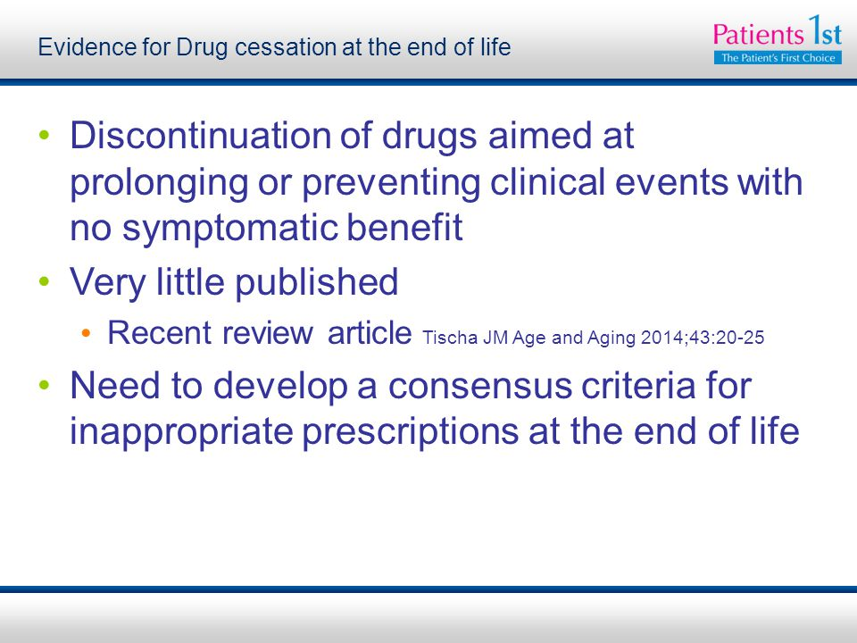 Evidence for Drug cessation at the end of life