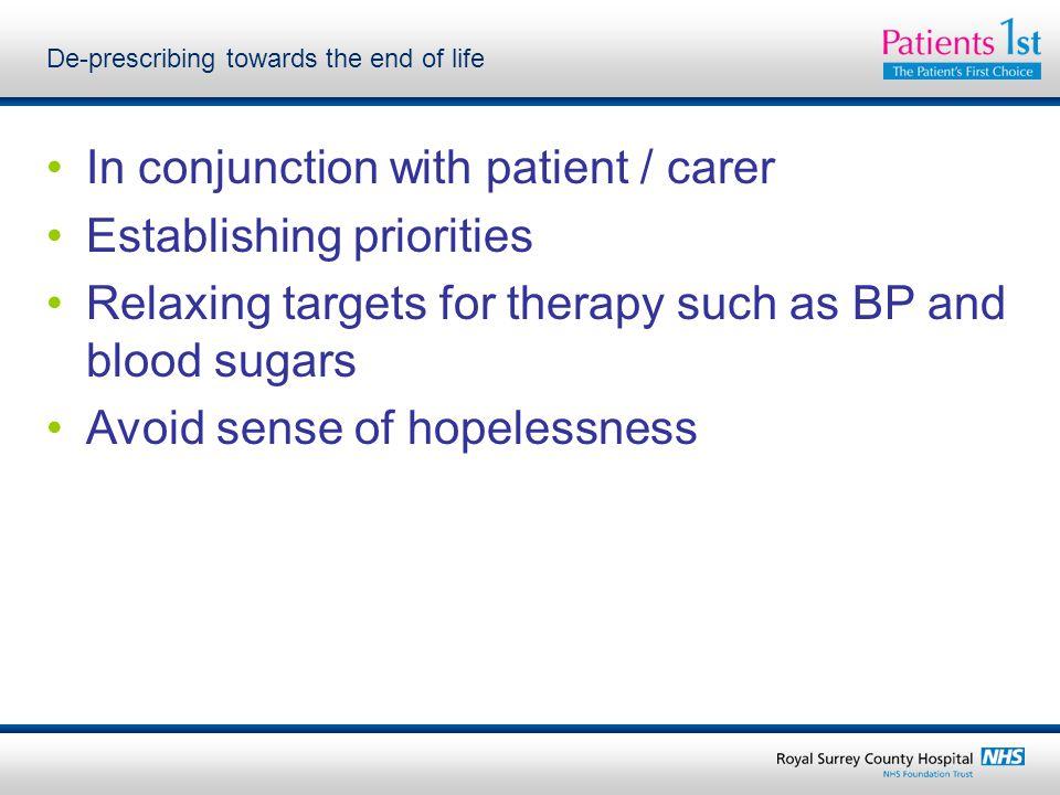 De-prescribing towards the end of life
