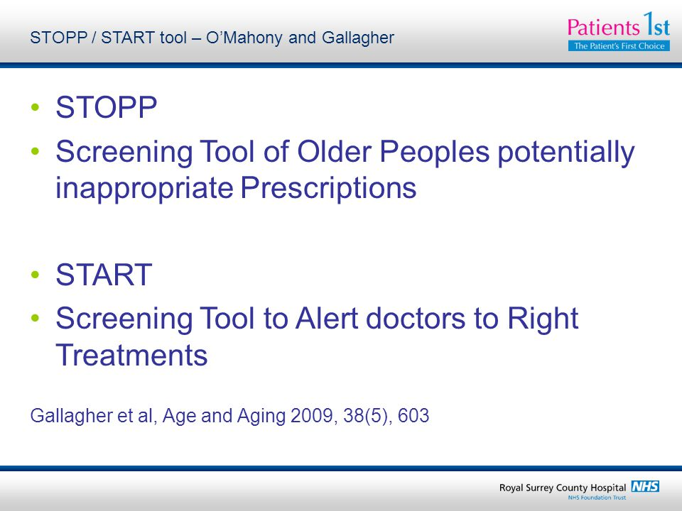 STOPP / START tool – O'Mahony and Gallagher