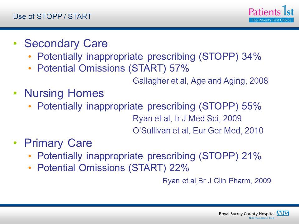Secondary Care Nursing Homes Primary Care
