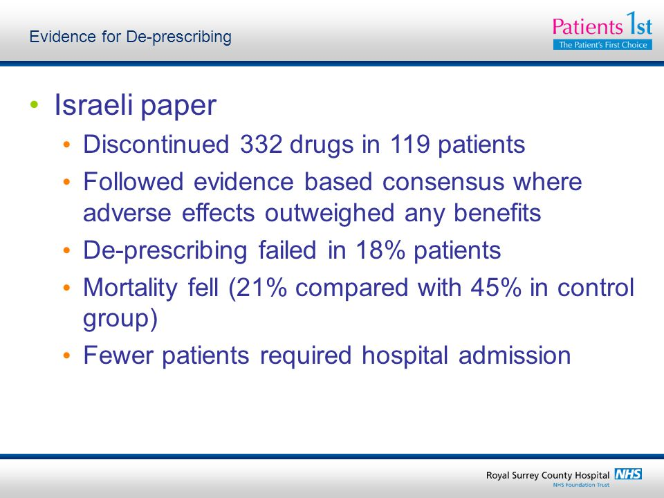 Evidence for De-prescribing