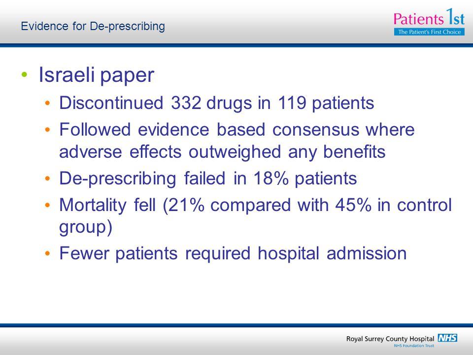 Evidence for De-prescribing