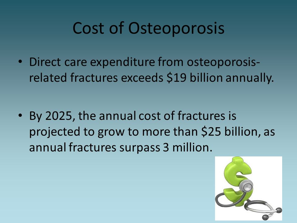 Cost of Osteoporosis Direct care expenditure from osteoporosis-related fractures exceeds $19 billion annually.