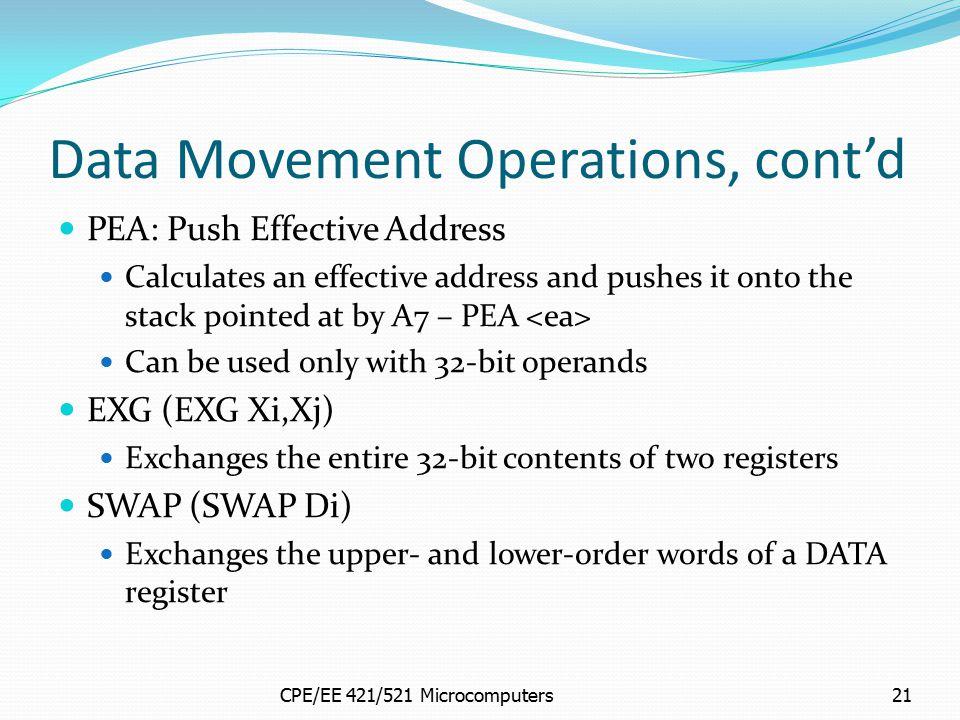 Data Movement Operations, cont'd