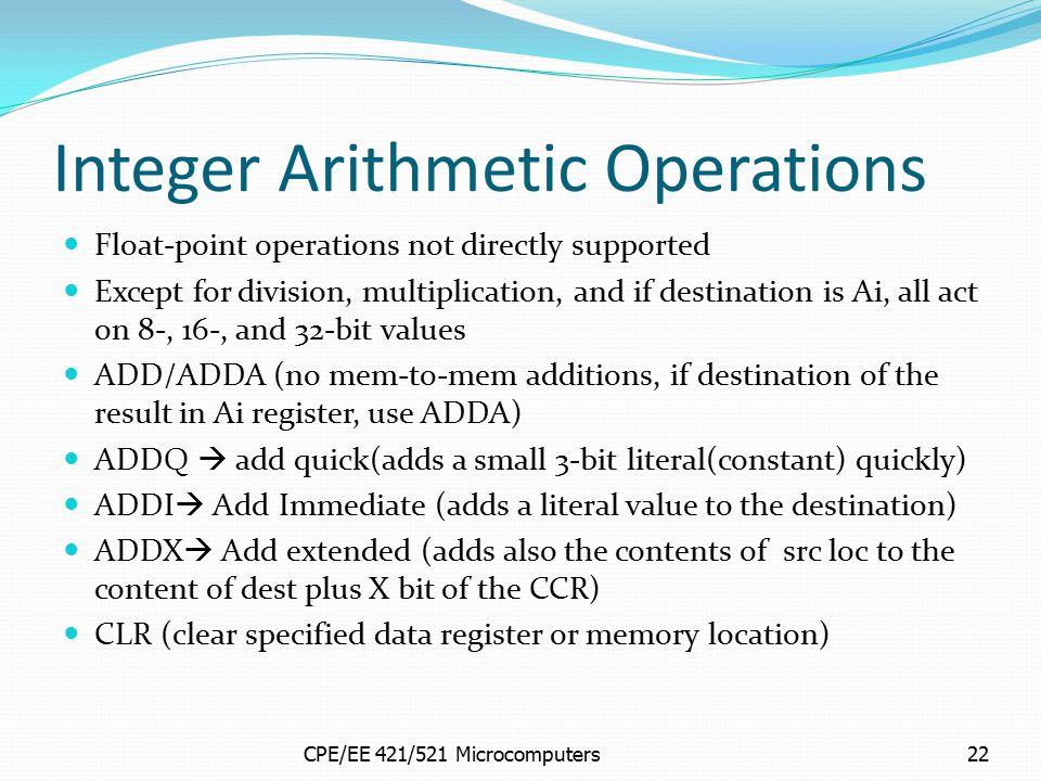 Integer Arithmetic Operations