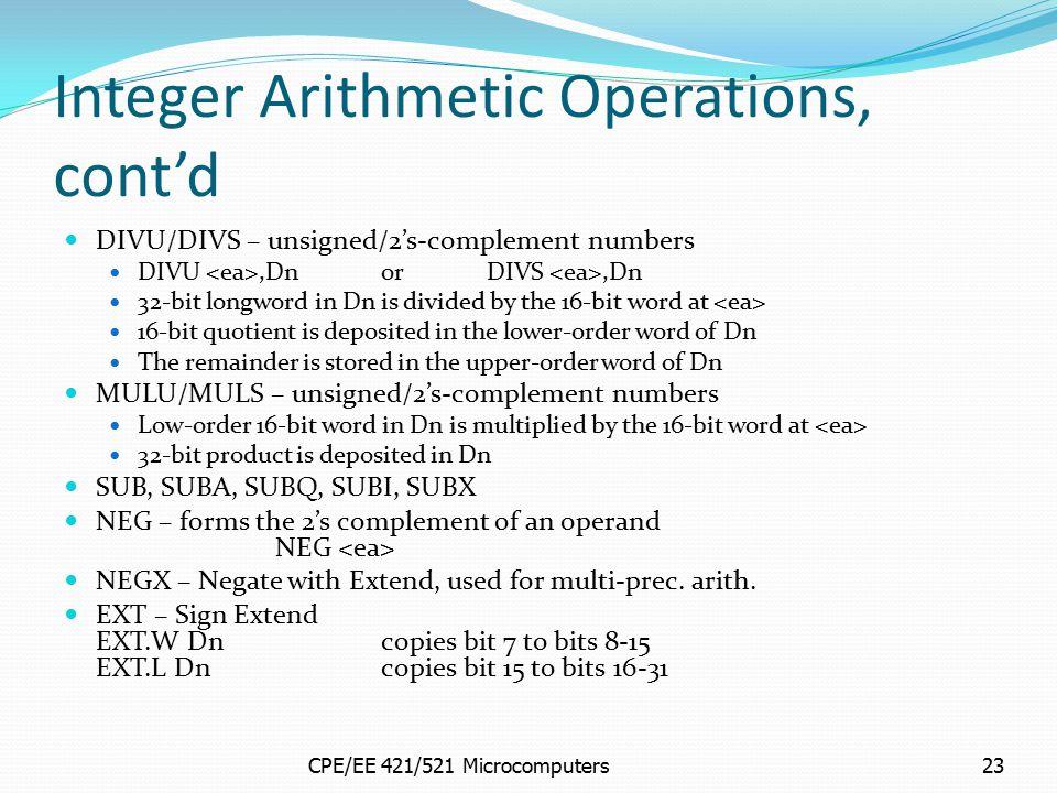 Integer Arithmetic Operations, cont'd
