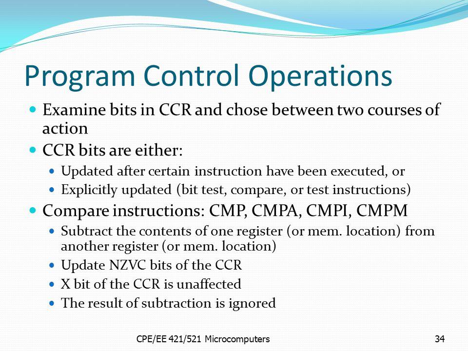 Program Control Operations