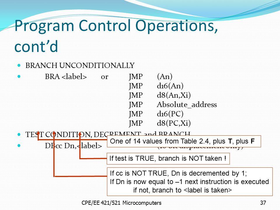 Program Control Operations, cont'd