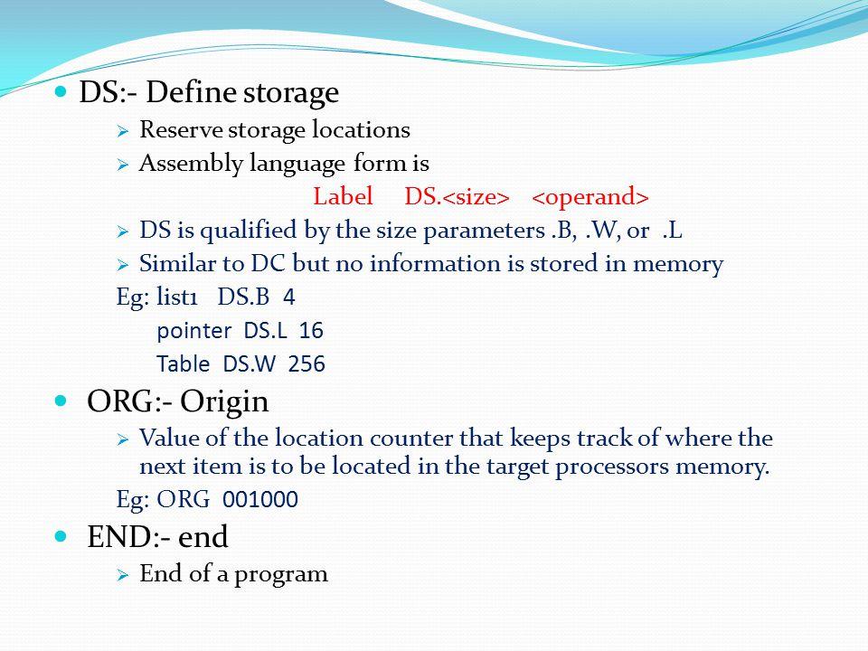 DS:- Define storage ORG:- Origin END:- end Reserve storage locations