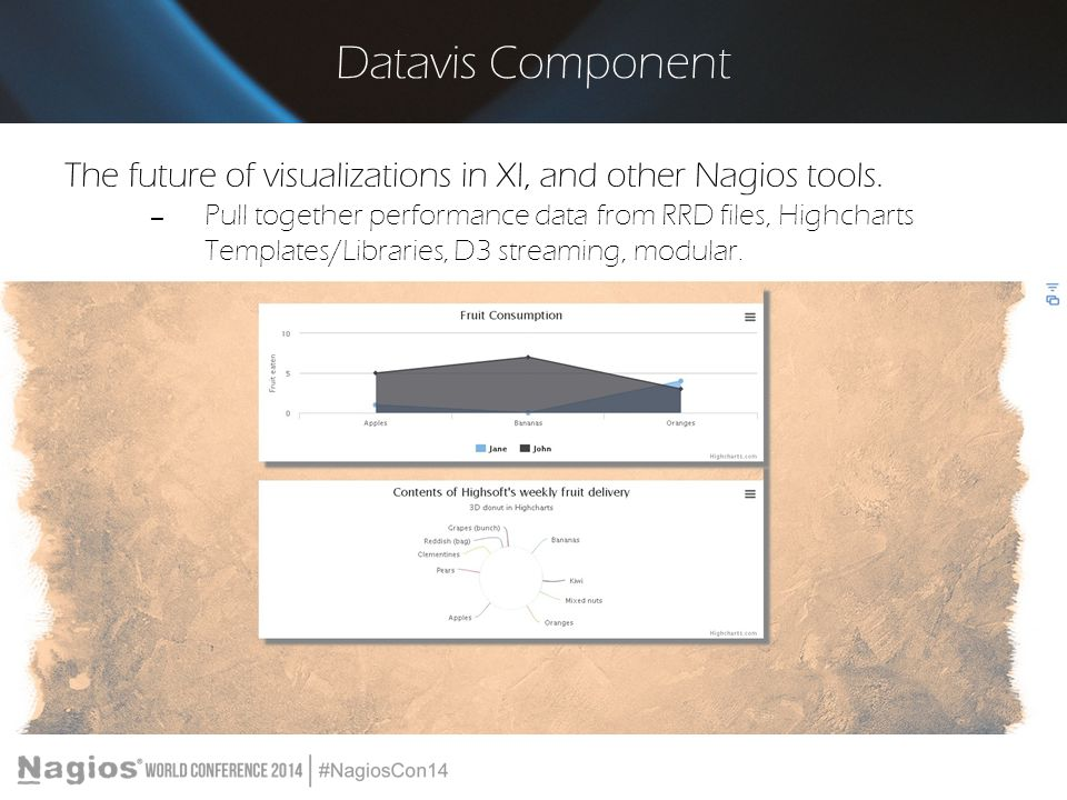 Datavis Component The future of visualizations in XI, and other Nagios tools.