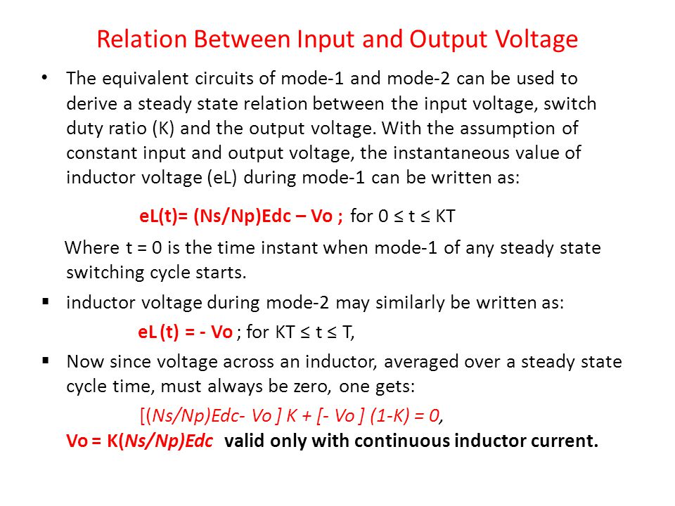 Relation Between Input and Output Voltage