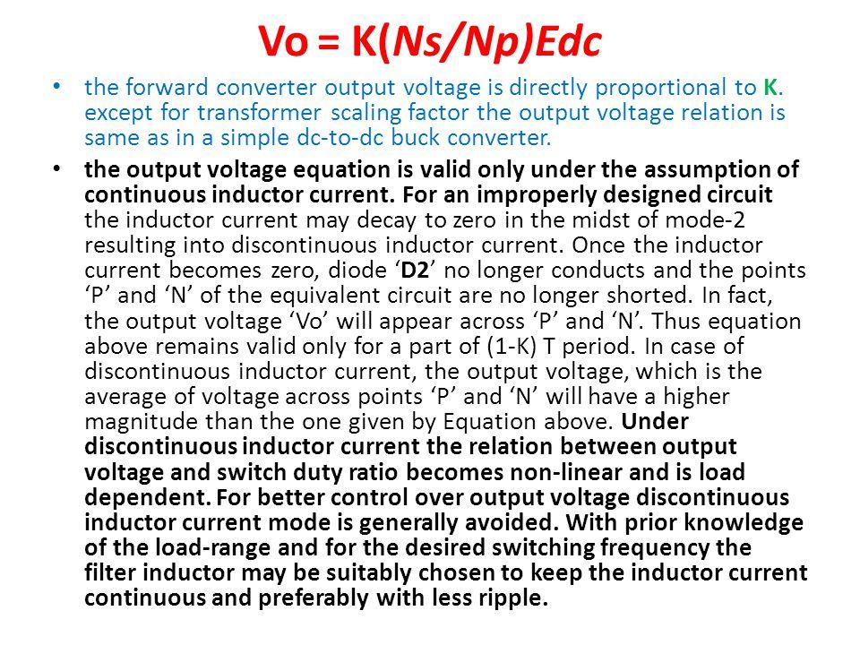 Vo = K(Ns/Np)Edc