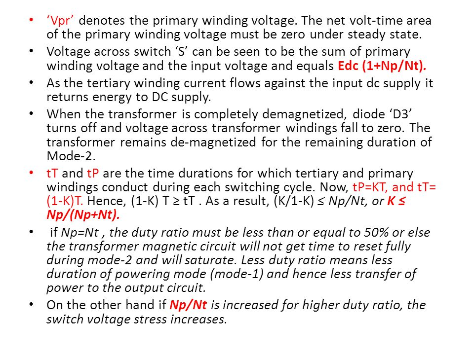 'Vpr' denotes the primary winding voltage