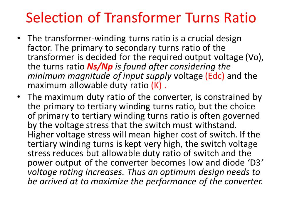 Selection of Transformer Turns Ratio