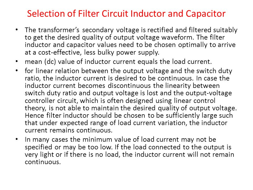 Selection of Filter Circuit Inductor and Capacitor
