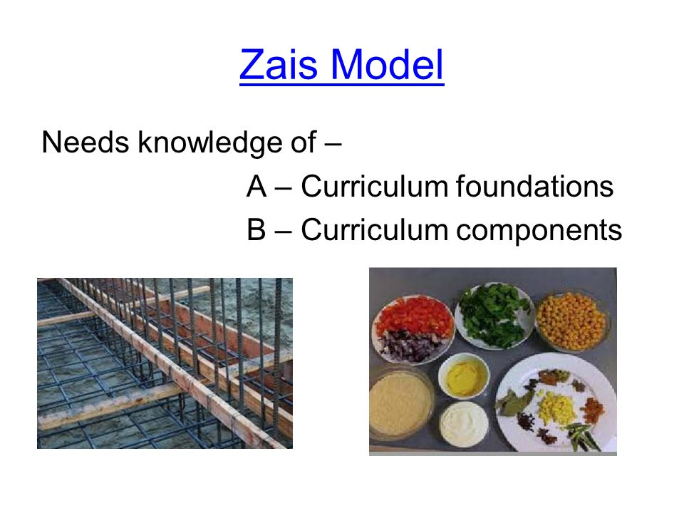 Zais Model Needs knowledge of – A – Curriculum foundations B – Curriculum components