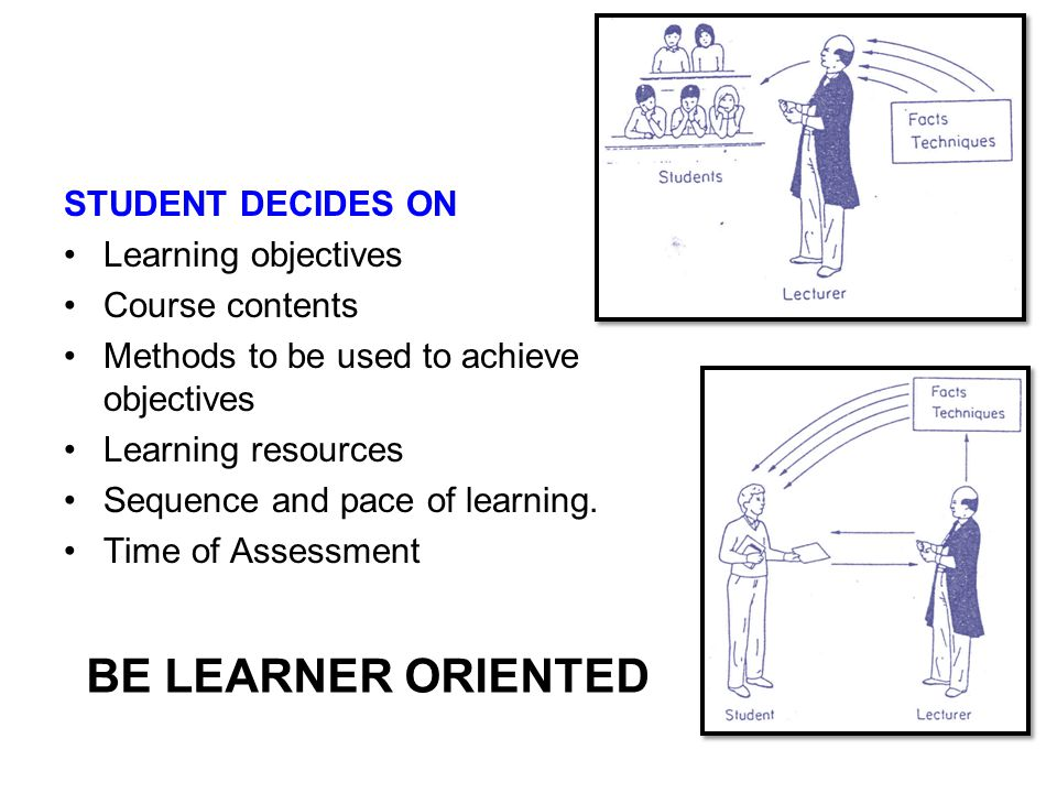 BE LEARNER ORIENTED STUDENT DECIDES ON Learning objectives