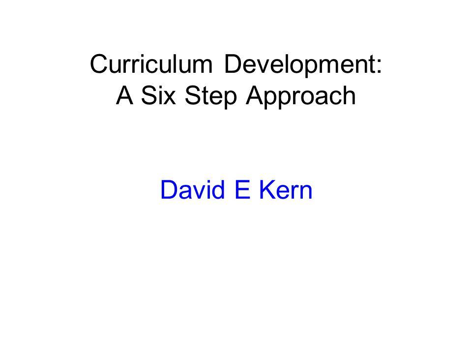 Curriculum Development: A Six Step Approach David E Kern